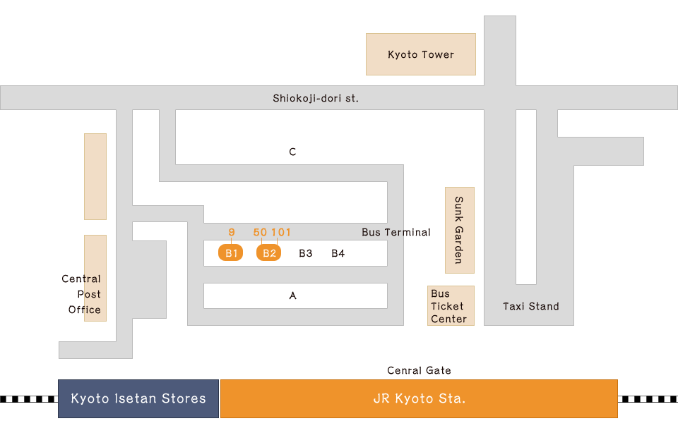 How to take a City Bus at JR Kyoto station